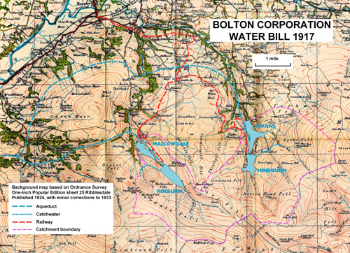 OS map with Bolton Water 1917 plans superimposed